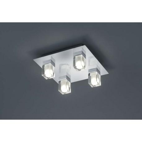 Plafonnier salle de bain LED chrome verre clair Javillier